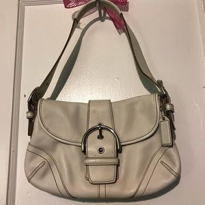 Authentic white leather coach purse